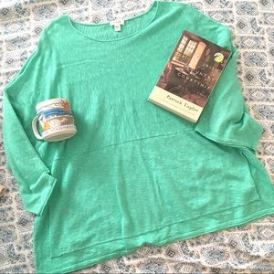 Pure Jill Turquoise green lounge sweater Linen